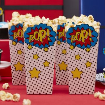 "Comic Book Superhero Popcorn Boxes ""Pop!"" pack of 8"